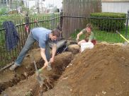 Keith and Lisa dig bamboo trench